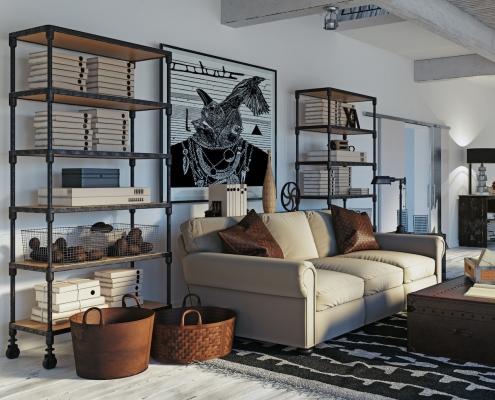 Intérieur design industriel avec étagères en acier