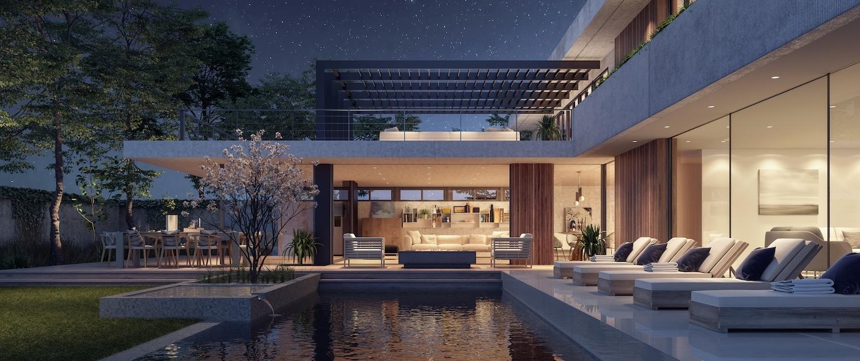 Vue de nuit d'un jardin de villa d'architecte avec pergola en acier