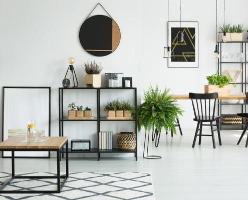 Mobilier design en acier et bois étagère et table basse