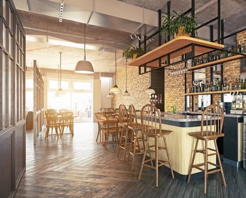 Intérieur design avec éléments en acier et bois dans restaurant