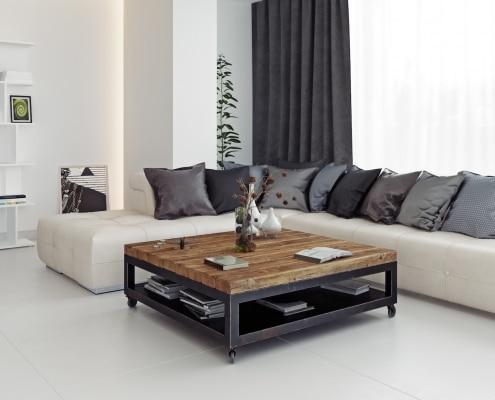Table basse de salon carrée sur roulettes en acier et bois