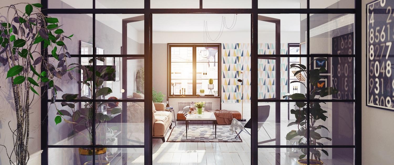 Verrière intérieure vitrée en acier noir dans un appartement